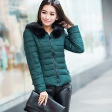 W27106 M size korean slim short solid color black fake fur down jackets