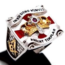 Knight Templar Masonic Ring Shield & Sword 2tone 18K Gold