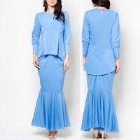 model-baju-kurung-modern blue ruffle ladies baju