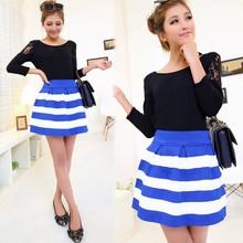 Women Stripe High Waist Splicing Color Stitching Texture Short Bubble Skirt 19724#
