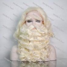 Рождество оптовая продажа / як фронта дед мороз борода комплект с руки связали усы и брови