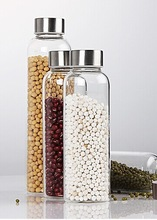 350/400/550ml lead free eco-friendly glass water bottles,glass jars/container with stainless steel lid