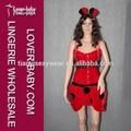 hermosa pieza cuatro puntos negro rojo falda peplum adultos disfraces mariquita mariquita traje