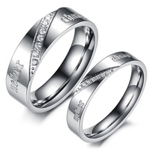 Silver Tone Stainless Steel Wedding Pair Ring CZ Wedding Set