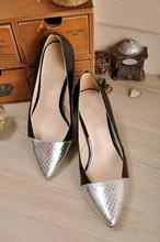 Genuine leather of sheepskin snake thin heel white basic high heel shoes