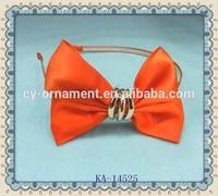 Fashion women headband large orange ribbon bow headband