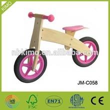Girl pink wood balance bike for toy