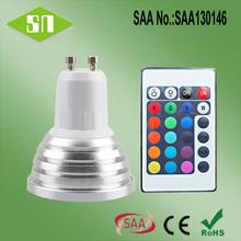 SAA RoHs listed RGB 3W GU10 mini led spotlight club use with remote/wifi controller