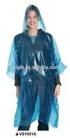 Clear transparent waterproof plastic promotional PE raincoat