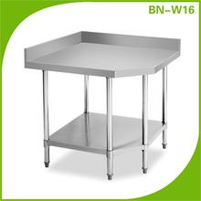 Restaurante muebles de cocina de acero inoxidable esquina mesa de trabajo con Backsplash y estante
