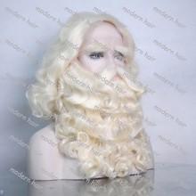 Professional Custom made Japanese Kanekalon/Yak/Human Hair Santa Claus wig and beard set