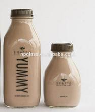 l liter glass milk bottle with plastic cap