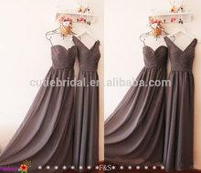 A line chiffon v neck pleat bodice backless prom dress high quality long evening dresses