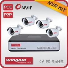 p2p onvif H.264 NVR kit 4CH 720P ip cameras cctv system