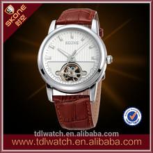 Best Design Fashion Genuine Leather Skeleton skeleton Automatic Mechanical Watch