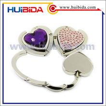 Custom foldable bag holder heart,metal crystal bag hook,handbag accessories