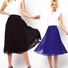 Fashion New Women Chiffon Double Layer Pleated Retro Long Maxi Dress Elastic Waist Skirt hot SV004551#