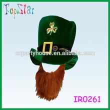Fancy Dress Jester Top Hat Ginger Beard Leprechaun Irish St Patricks Day Hat