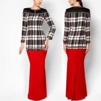 model-baju-kurung-modern check ladies plus size baju kurung