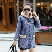 NZ3366 new long women denim coats thick cotton hooded jacket