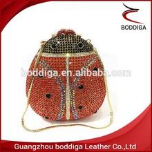 Bling colorful animal beetle shape crystal clutch bag colorful rhinestone evening bag