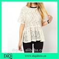 2014 para mujer del cordón del algodón de la blusa y superior