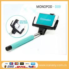 Factory OEM logo type D09 Model Handheld bluetooth selfie stick Monopod with Mirror for phone monpod