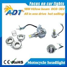hot selling LED 18W Motorcycle bike motor 6000K Hi/Lo bulb light headlight Kit 6-36V h4 h6