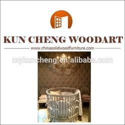 Pine wood round crib bedding set/Custom made pine wood baby cribs