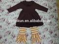 bambini fascia di età fantasia maglia abito di cotone set baby ingrosso ragazze boutique vestito di cotone volant con tripla volant pantaloni set