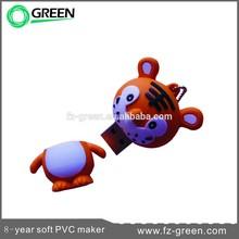 Soft pvc tiger usb stick 4GB bulk cheap