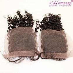 Homeage 100 human hair lace closure fringe virgin cheap peruvian hair silk base closure