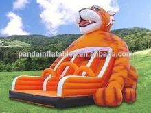 Happy tiger type 3 lane slide for kids/tiger design interested Inflatable slide for little kids