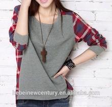 2014 Autumn Wear Long Sleeve T-Shirt Han Edition Stitching Lattice Code Render Unlined Upper Garment Of Female T-Shirt Collar Bi