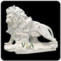2015 jardín de escultura de león de mármol blanco