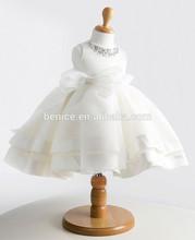 acrylic crstals neck ball gown tulle flower girl dress white