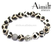 BD44 Hot Fashion 10mm Dzi Agate Beads Bracelets With Silver Buddha Head & CZ Mirco Pave Bead