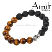 BD76 Hot Fashion Custom Buddha Beads Bracelets With 10mm Black Lave Beads & Brown Tiger Eye Beads