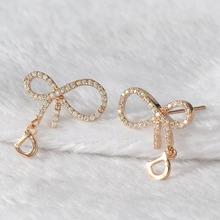 Wholesale Fashion Real Gold Alphabet D Zircon Bowknot Earrings