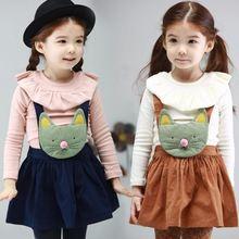 wholesale2014 autumn new female children's clothing Korean children's long-sleeved T-shirt baby sling skirt suit tz-1067