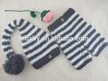 H842 grey striped hat Crochet baby pants suit