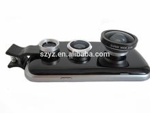 Optical glass lenses 3 in 1 Wide Lens + Macro Lens + Fish Eye Lens For iPhone 4 4s 5 5s 5c, for all mobile phones Digital Camera