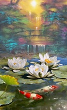 100% handpainted landscape oil painting on canvas chinese style fish and lotus painting