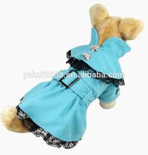 Autumn Winter Blue Pet Princess Lace Skirt Dog Wool Jacket