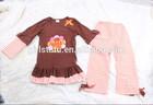 Yiwu manufacturer turkey print top matching leggings child clothing cartoon for happy thanksgiving day