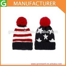 Blue&Red Star Design US Flag Knit Cap With Pom Pom