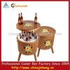 promotion Garden wooden cooler box,round barrel beer cooler for outdoor