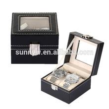 vintage black leather top glass jewelry box organizer men/women watch display box