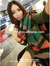 2015 wholesale New style nap retro striped fringed custom-made printed shawls