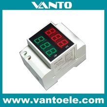 DIN-RAIL Slide Way Digital LED AC Voltmeter Ammeter AC80-300V AC220V AC0.2-99.9A Voltage Current Meter Dual Display Panel meter